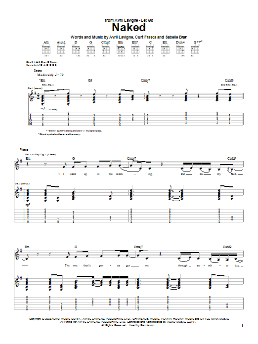 Avril Lavigne Naked sheet music notes and chords. Download Printable PDF.