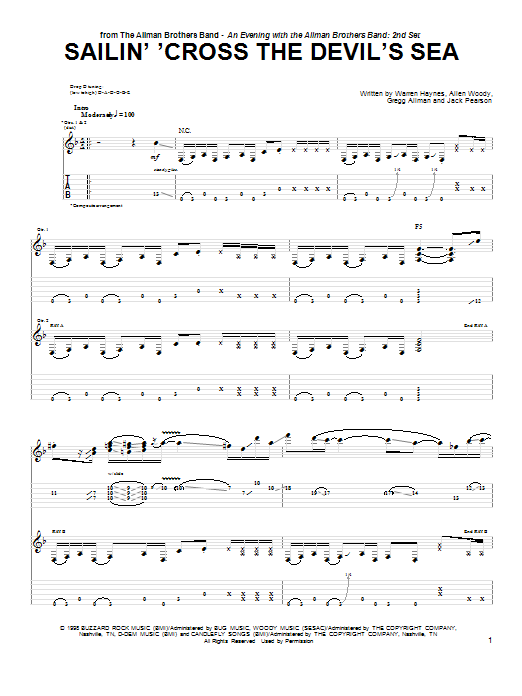 The Allman Brothers Band Sailin' 'Cross The Devil's Sea sheet music notes and chords. Download Printable PDF.