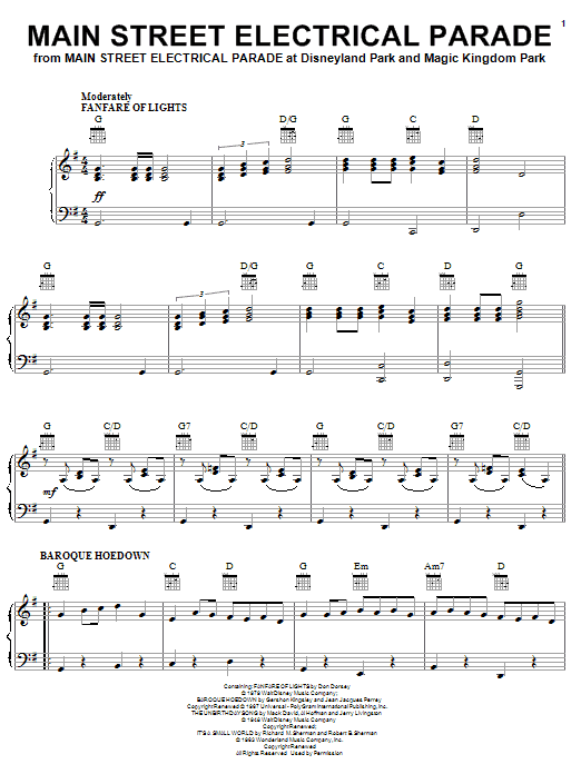 Don Dorsey Main Street Electrical Parade (from Main Street Electrical Parade at Disneyland) sheet music notes and chords. Download Printable PDF.