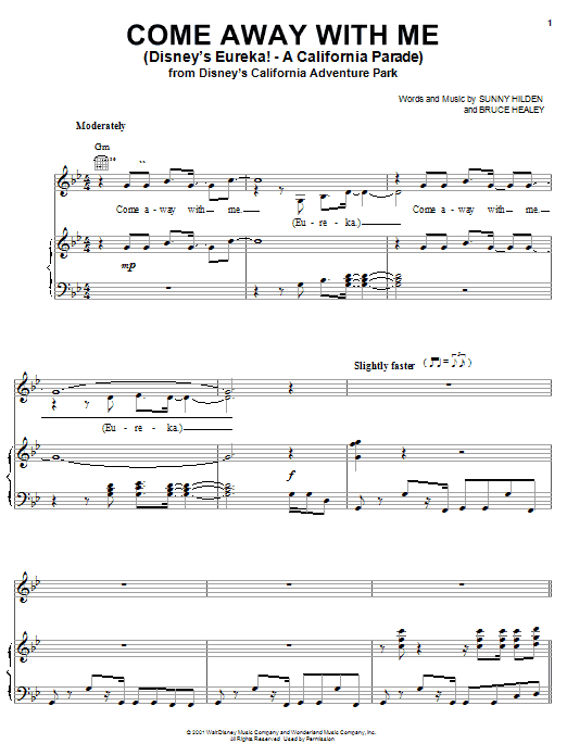 Sunny Hilden Come Away With Me (Disney's Eureka! - A California Parade) sheet music notes and chords. Download Printable PDF.