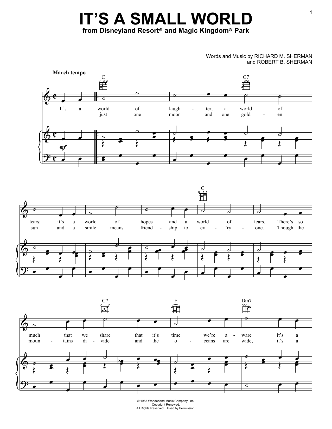 Sherman Brothers It's A Small World sheet music notes and chords. Download Printable PDF.