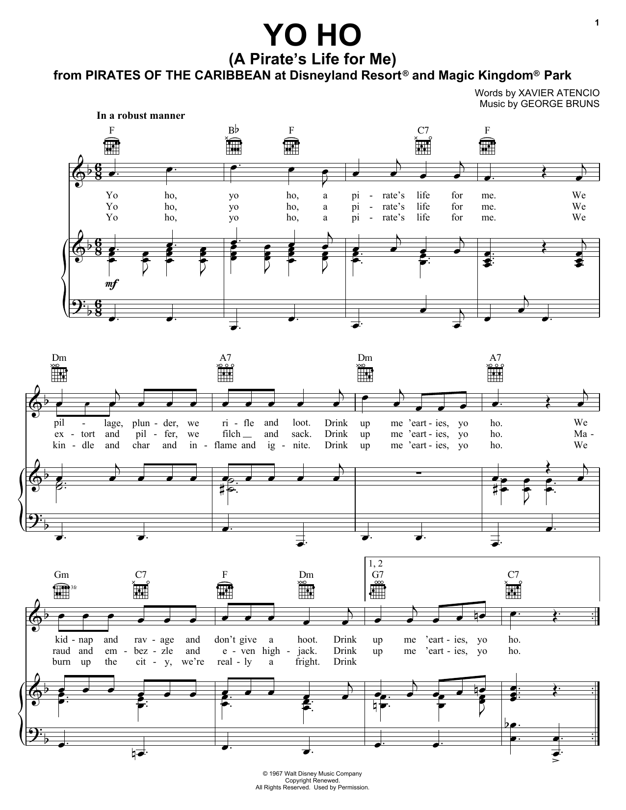 Xavier Atencio Yo Ho (A Pirate's Life For Me) sheet music notes and chords. Download Printable PDF.