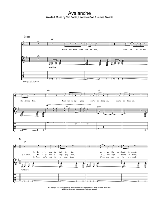 James Avalanche sheet music notes and chords. Download Printable PDF.