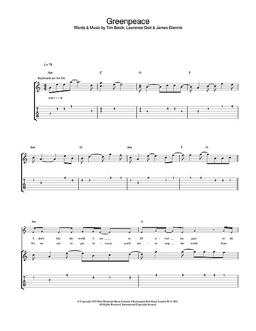 James Greenpeace sheet music notes and chords. Download Printable PDF.