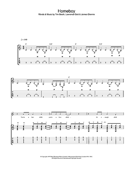 James Homeboy sheet music notes and chords. Download Printable PDF.