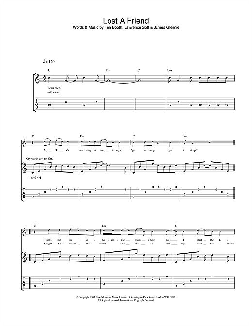 James Lost A Friend sheet music notes and chords. Download Printable PDF.