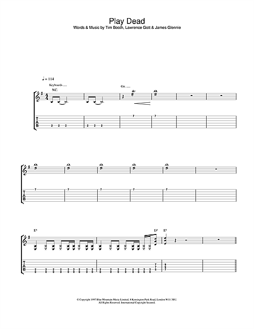 James Play Dead sheet music notes and chords. Download Printable PDF.