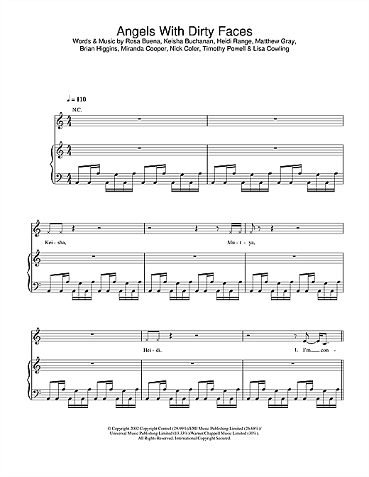 Sugababes Angels With Dirty Faces sheet music notes and chords. Download Printable PDF.