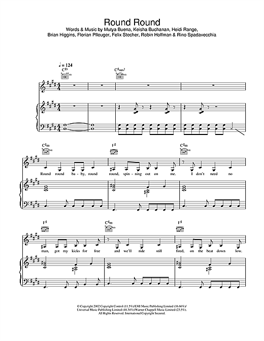 Sugababes Round Round sheet music notes and chords. Download Printable PDF.