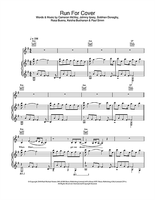 Sugababes Run For Cover sheet music notes and chords. Download Printable PDF.