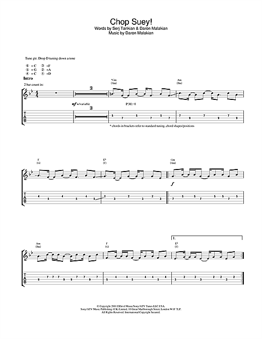 System Of A Down Chop Suey! sheet music notes and chords. Download Printable PDF.