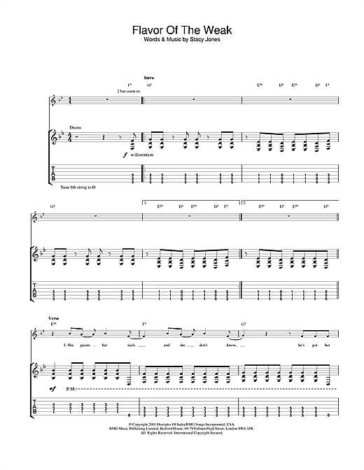 American Hi-Fi Flavor Of The Weak sheet music notes and chords. Download Printable PDF.