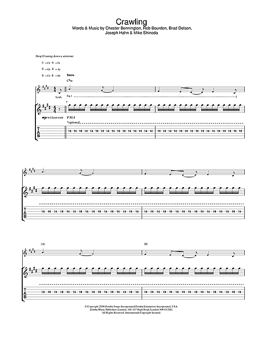 Linkin Park Crawling sheet music notes and chords. Download Printable PDF.