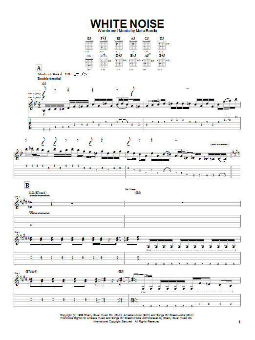Marc Bonilla White Noise sheet music notes and chords. Download Printable PDF.