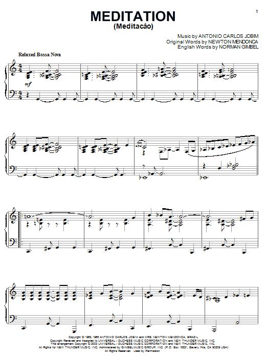 Antonio Carlos Jobim Meditation (Meditacao) sheet music notes and chords. Download Printable PDF.
