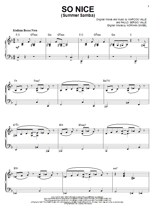 Marcos Valle So Nice (Summer Samba) sheet music notes and chords. Download Printable PDF.