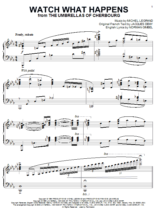 Michel Legrand Watch What Happens sheet music notes and chords. Download Printable PDF.