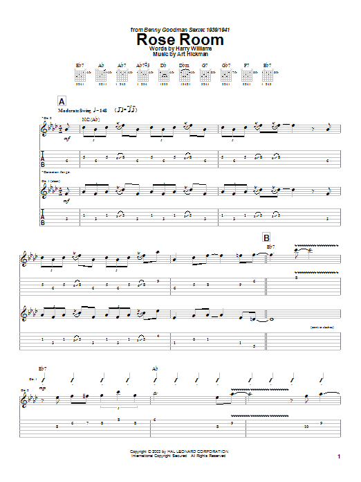 Charlie Christian Rose Room sheet music notes and chords. Download Printable PDF.