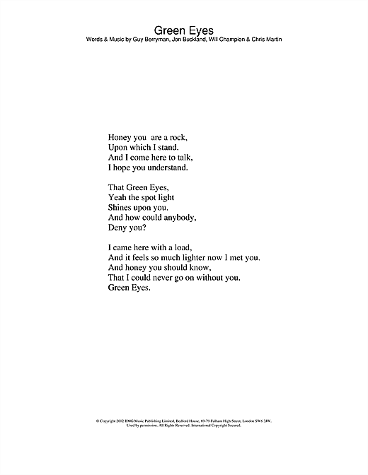 Coldplay Green Eyes sheet music notes and chords. Download Printable PDF.