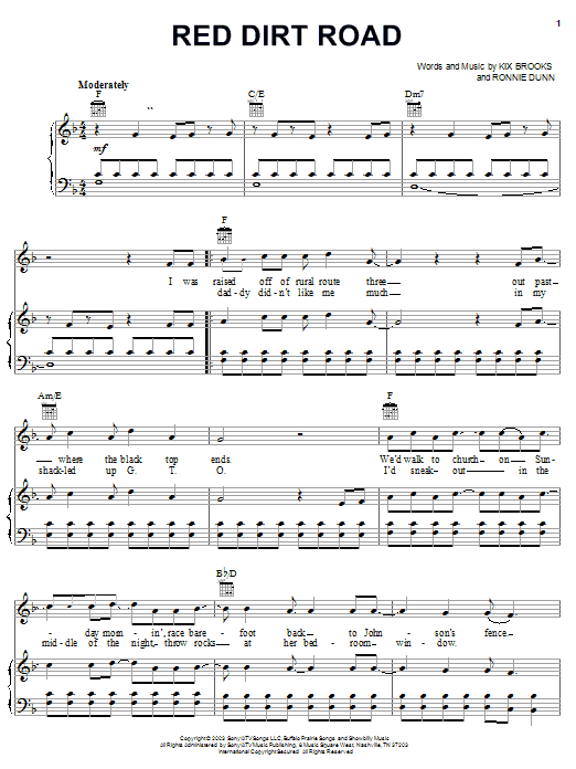 Brooks & Dunn Red Dirt Road sheet music notes and chords. Download Printable PDF.