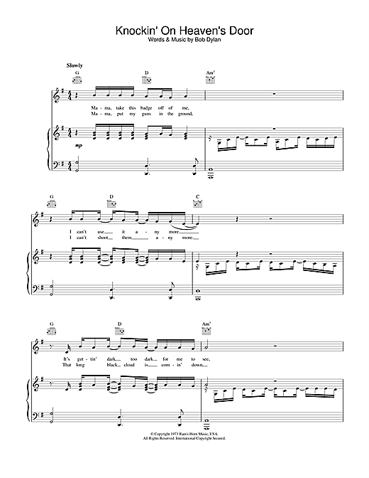 Bob Dylan Knockin' On Heaven's Door sheet music notes and chords. Download Printable PDF.