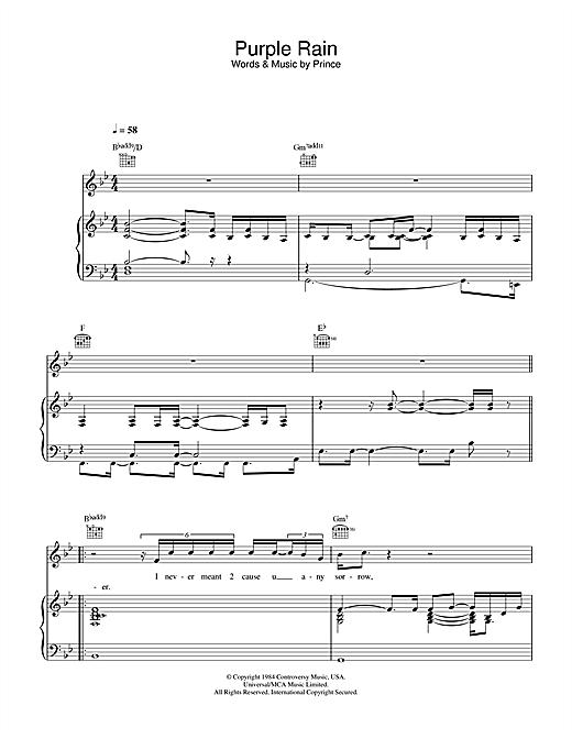 Prince Purple Rain sheet music notes and chords. Download Printable PDF.