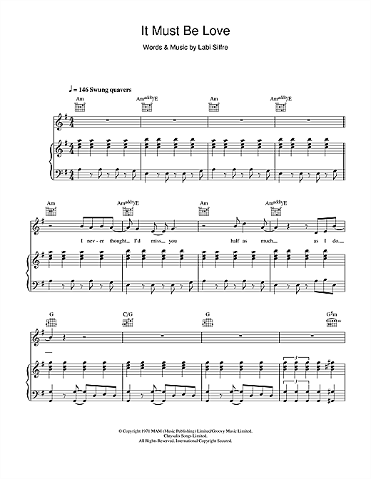Madness It Must Be Love sheet music notes and chords. Download Printable PDF.