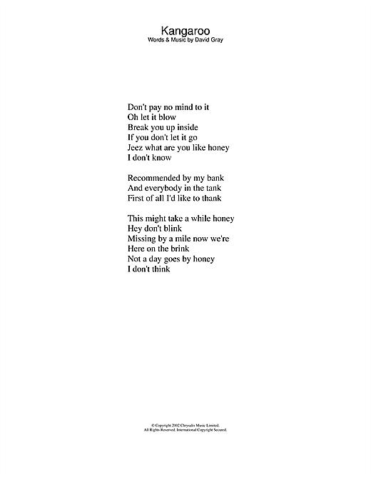 David Gray Kangaroo sheet music notes and chords. Download Printable PDF.