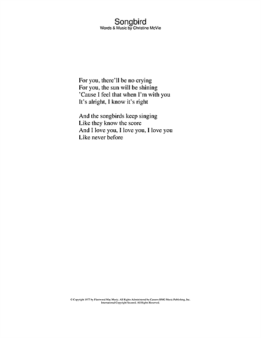 Eva Cassidy/Fleetwood Mac Songbird sheet music notes and chords. Download Printable PDF.