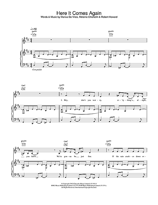 Melanie C Here It Comes Again sheet music notes and chords. Download Printable PDF.