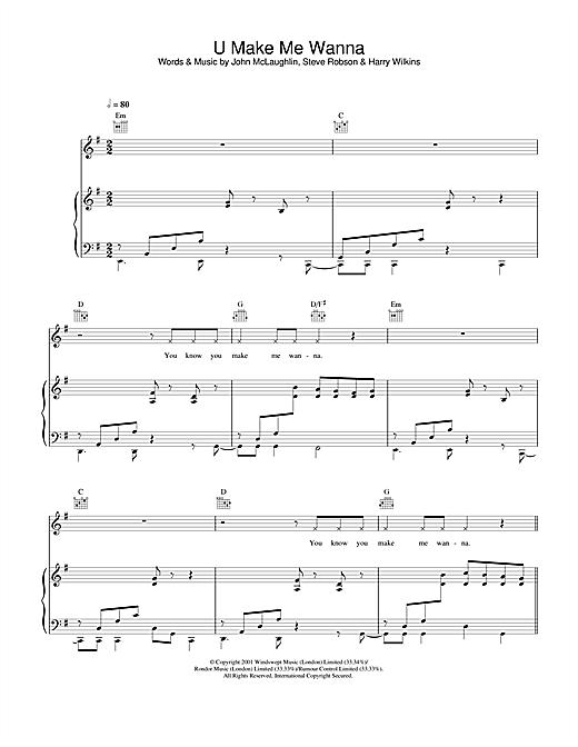 Blue U Make Me Wanna sheet music notes and chords. Download Printable PDF.