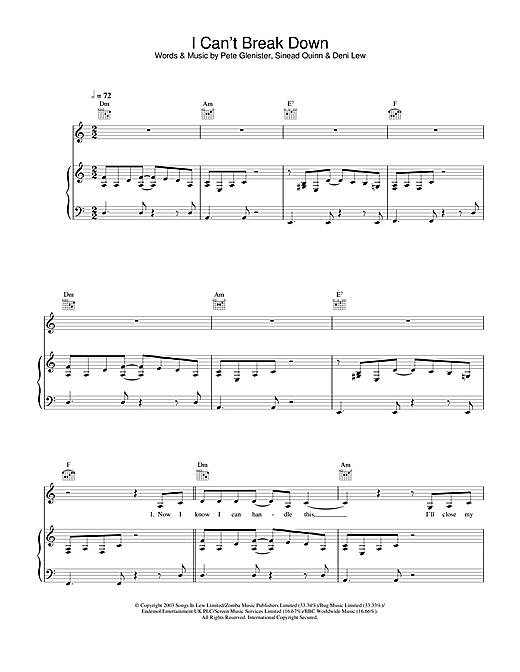 Sinead Quinn I Can't Break Down sheet music notes and chords. Download Printable PDF.