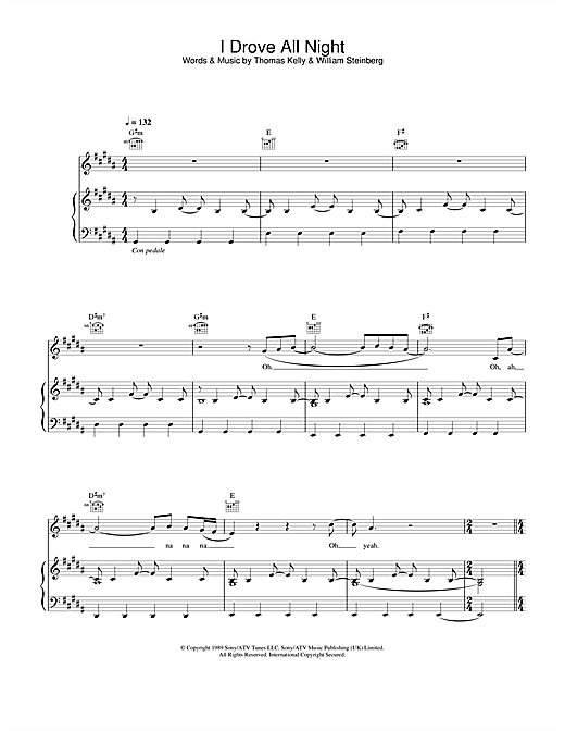 Celine Dion I Drove All Night sheet music notes and chords. Download Printable PDF.