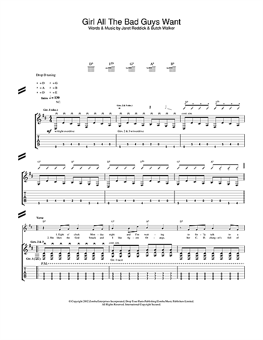 Bowling For Soup Girl All The Bad Guys Want sheet music notes and chords. Download Printable PDF.