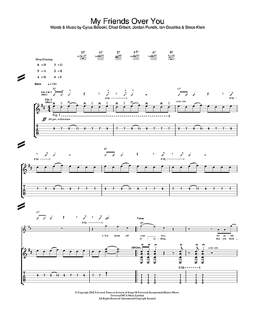 New Found Glory My Friends Over You sheet music notes and chords. Download Printable PDF.