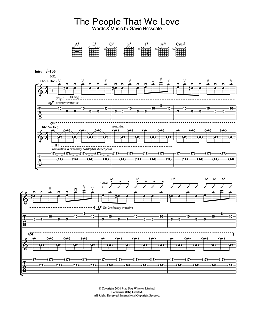 Bush The People That We Love sheet music notes and chords. Download Printable PDF.