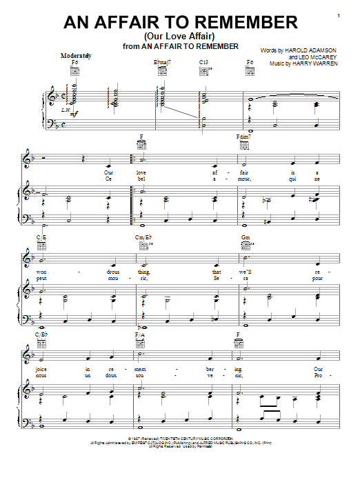 Vic Damone An Affair To Remember (Our Love Affair) sheet music notes and chords. Download Printable PDF.