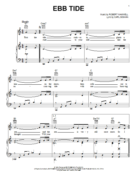 The Righteous Brothers Ebb Tide sheet music notes and chords. Download Printable PDF.