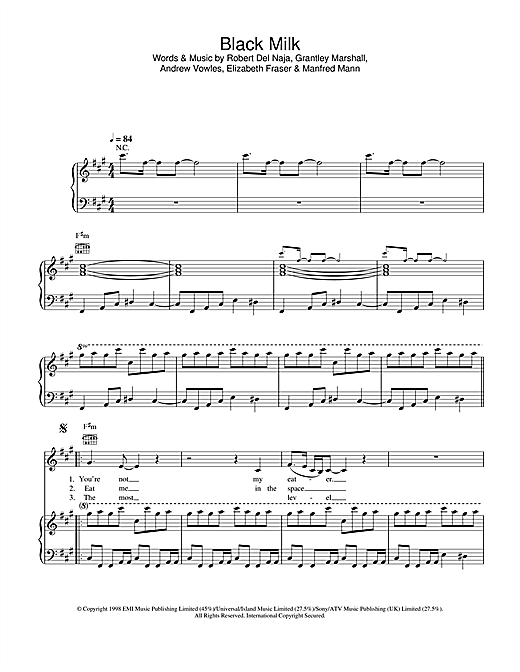 Massive Attack Black Milk sheet music notes and chords. Download Printable PDF.