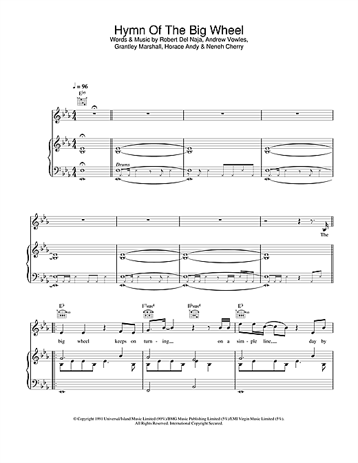 Massive Attack Hymn Of The Big Wheel sheet music notes and chords. Download Printable PDF.