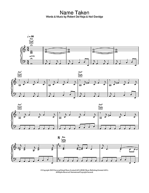 Massive Attack Name Taken sheet music notes and chords. Download Printable PDF.