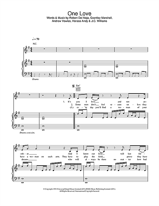 Massive Attack One Love sheet music notes and chords. Download Printable PDF.