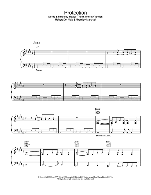 Massive Attack Protection sheet music notes and chords. Download Printable PDF.