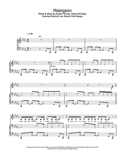Massive Attack Risingson sheet music notes and chords. Download Printable PDF.
