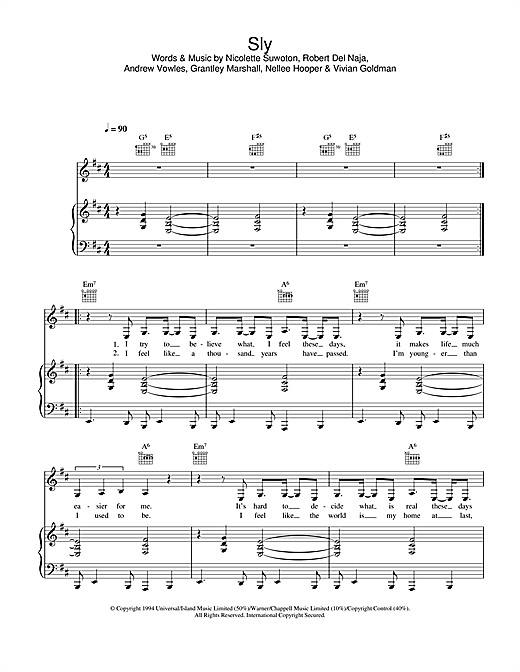 Massive Attack Sly sheet music notes and chords. Download Printable PDF.