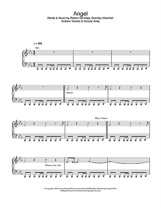 Massive Attack Angel sheet music notes and chords. Download Printable PDF.
