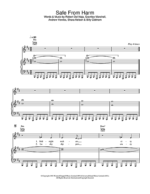 Massive Attack Safe From Harm sheet music notes and chords. Download Printable PDF.