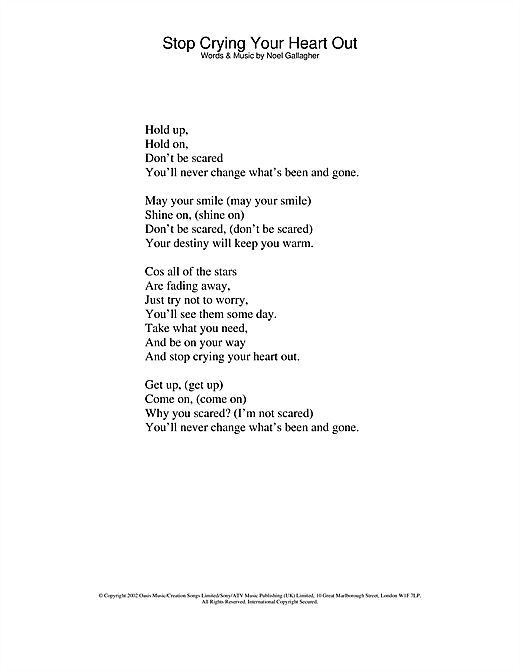 Oasis Stop Crying Your Heart Out sheet music notes and chords. Download Printable PDF.