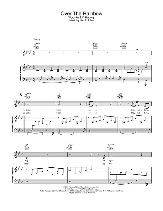 Eva Cassidy Over The Rainbow sheet music notes and chords. Download Printable PDF.