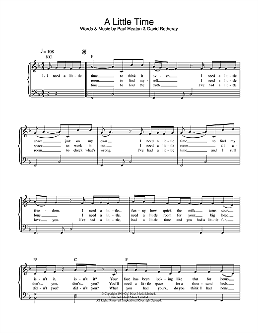 The Beautiful South A Little Time sheet music notes and chords. Download Printable PDF.